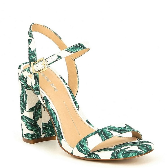 Hp White With Green Leaves Block Heel